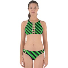 Stripes3 Black Marble & Green Colored Pencil (r) Perfectly Cut Out Bikini Set