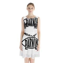 Darwin Fish Sleeveless Waist Tie Chiffon Dress