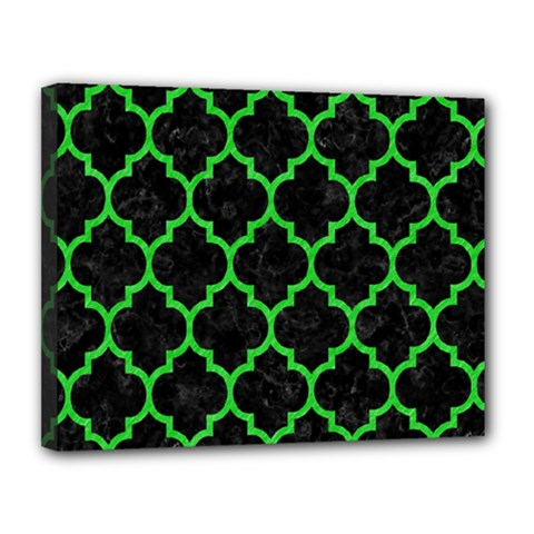 Tile1 Black Marble & Green Colored Pencil Canvas 14  X 11