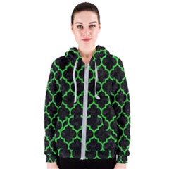 Tile1 Black Marble & Green Colored Pencil Women s Zipper Hoodie