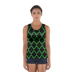 Tile1 Black Marble & Green Colored Pencil Sport Tank Top