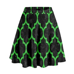 Tile1 Black Marble & Green Colored Pencil High Waist Skirt
