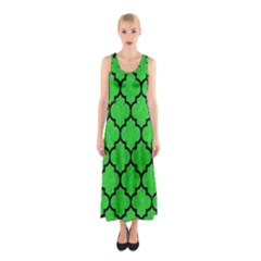 Tile1 Black Marble & Green Colored Pencil (r) Sleeveless Maxi Dress