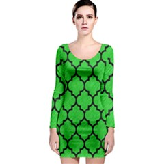 Tile1 Black Marble & Green Colored Pencil (r) Long Sleeve Bodycon Dress