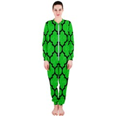 Tile1 Black Marble & Green Colored Pencil (r) Onepiece Jumpsuit (ladies)