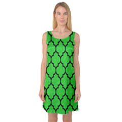 Tile1 Black Marble & Green Colored Pencil (r) Sleeveless Satin Nightdress