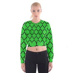 Tile1 Black Marble & Green Colored Pencil (r) Cropped Sweatshirt