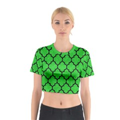 Tile1 Black Marble & Green Colored Pencil (r) Cotton Crop Top