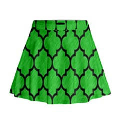 Tile1 Black Marble & Green Colored Pencil (r) Mini Flare Skirt