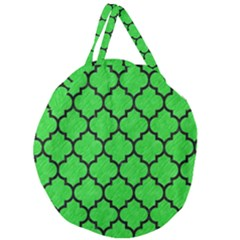 Tile1 Black Marble & Green Colored Pencil (r) Giant Round Zipper Tote