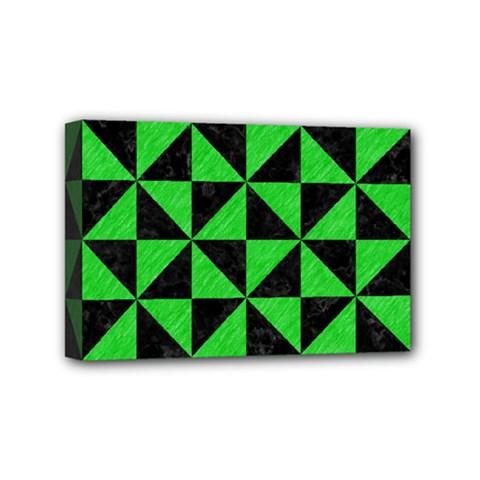Triangle1 Black Marble & Green Colored Pencil Mini Canvas 6  X 4