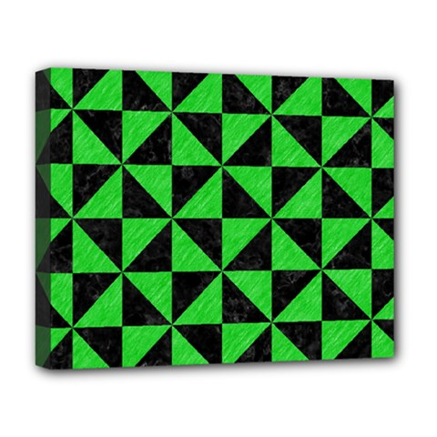 Triangle1 Black Marble & Green Colored Pencil Deluxe Canvas 20  X 16