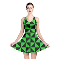 Triangle1 Black Marble & Green Colored Pencil Reversible Skater Dress