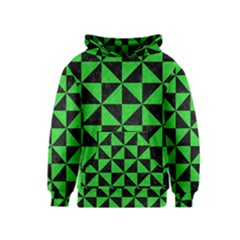 Triangle1 Black Marble & Green Colored Pencil Kids  Pullover Hoodie