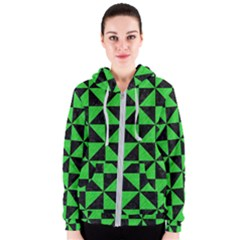 Triangle1 Black Marble & Green Colored Pencil Women s Zipper Hoodie