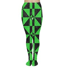 Triangle1 Black Marble & Green Colored Pencil Women s Tights
