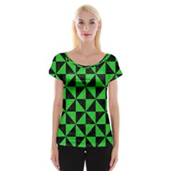 Triangle1 Black Marble & Green Colored Pencil Cap Sleeve Tops