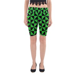 Triangle1 Black Marble & Green Colored Pencil Yoga Cropped Leggings