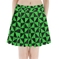 Triangle1 Black Marble & Green Colored Pencil Pleated Mini Skirt