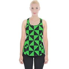 Triangle1 Black Marble & Green Colored Pencil Piece Up Tank Top