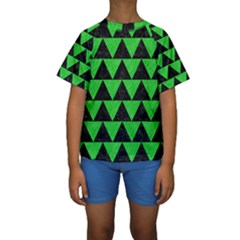 Triangle2 Black Marble & Green Colored Pencil Kids  Short Sleeve Swimwear