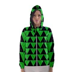 Triangle2 Black Marble & Green Colored Pencil Hooded Wind Breaker (women)
