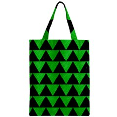 Triangle2 Black Marble & Green Colored Pencil Zipper Classic Tote Bag