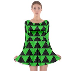 Triangle2 Black Marble & Green Colored Pencil Long Sleeve Skater Dress