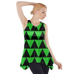 Triangle2 Black Marble & Green Colored Pencil Side Drop Tank Tunic