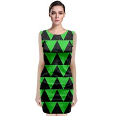 Triangle2 Black Marble & Green Colored Pencil Classic Sleeveless Midi Dress