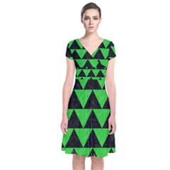 Triangle2 Black Marble & Green Colored Pencil Short Sleeve Front Wrap Dress