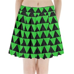 Triangle2 Black Marble & Green Colored Pencil Pleated Mini Skirt