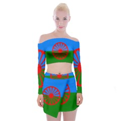 Gypsy Flag Off Shoulder Top With Mini Skirt Set