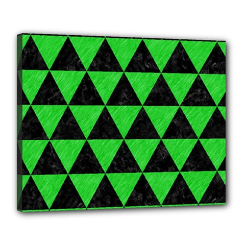 Triangle3 Black Marble & Green Colored Pencil Canvas 20  X 16