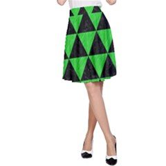 Triangle3 Black Marble & Green Colored Pencil A Line Skirt