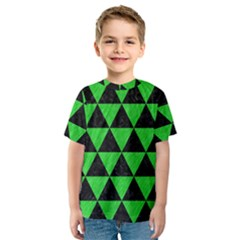 Triangle3 Black Marble & Green Colored Pencil Kids  Sport Mesh Tee