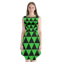 Triangle3 Black Marble & Green Colored Pencil Sleeveless Chiffon Dress