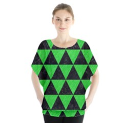 Triangle3 Black Marble & Green Colored Pencil Blouse