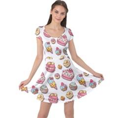 Sweet Pattern Cap Sleeve Dress