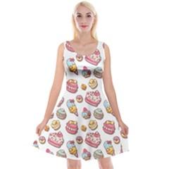 Sweet Pattern Reversible Velvet Sleeveless Dress
