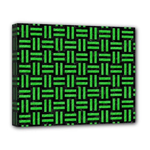 Woven1 Black Marble & Green Colored Pencil Deluxe Canvas 20  X 16