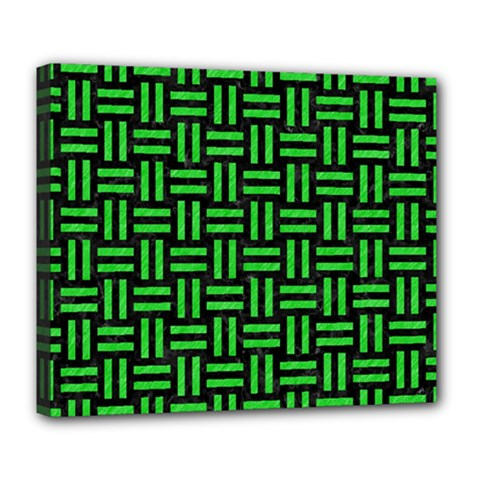 Woven1 Black Marble & Green Colored Pencil Deluxe Canvas 24  X 20