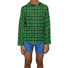 Woven1 Black Marble & Green Colored Pencil Kids  Long Sleeve Swimwear