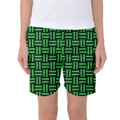 Woven1 Black Marble & Green Colored Pencil Women s Basketball Shorts