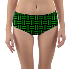 Woven1 Black Marble & Green Colored Pencil Reversible Mid Waist Bikini Bottoms