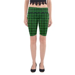 Woven1 Black Marble & Green Colored Pencil Yoga Cropped Leggings