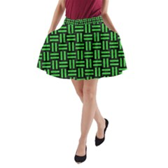 Woven1 Black Marble & Green Colored Pencil A Line Pocket Skirt