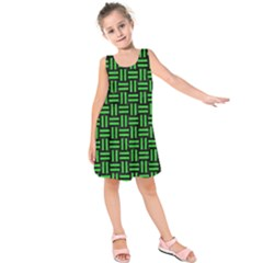 Woven1 Black Marble & Green Colored Pencil Kids  Sleeveless Dress