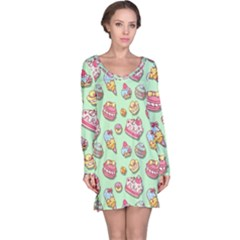 Sweet Pattern Long Sleeve Nightdress