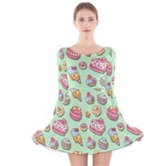 Sweet Pattern Long Sleeve Velvet Skater Dress